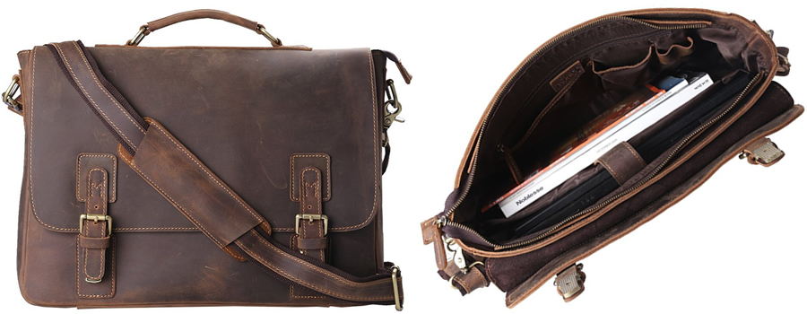 Kattee XZ342BN Full Grain Cowhide Leather Laptop Bag Canada Review