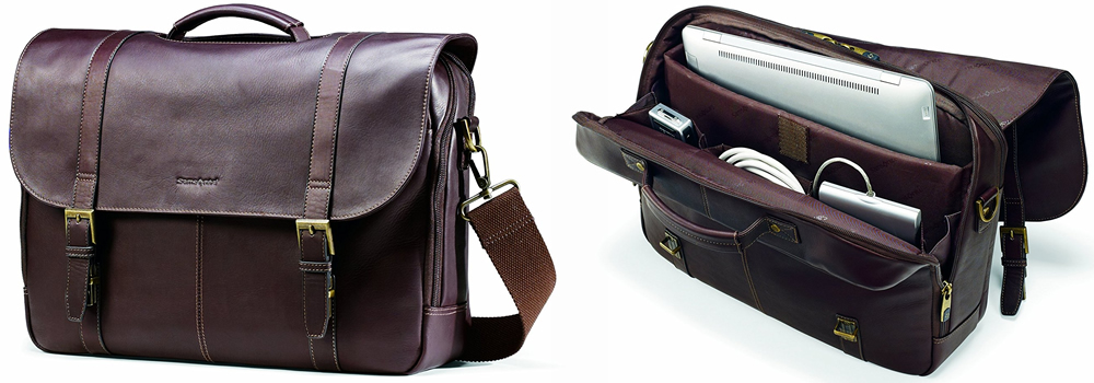 Samsonite Colombian Leather Flap-Over Laptop Bag Review
